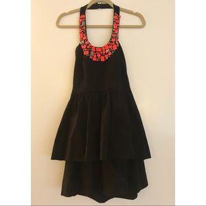Shoshanna Jeweled Halter Layered Dress